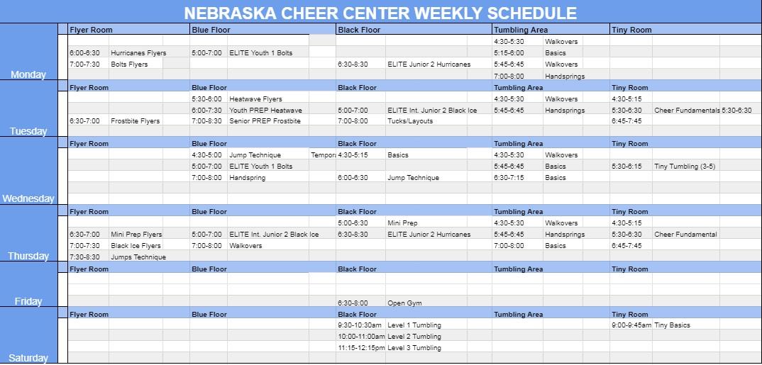 Gym Schedule 081021